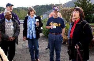 Ronni Lacroute of WillaKenzie Estate gives a tour to the University of Michigan Club of Portland