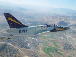 John and Susan Harrison (UM '65 and '68) of Sacramento get around in style in their Maize and Blue L-39 jet.